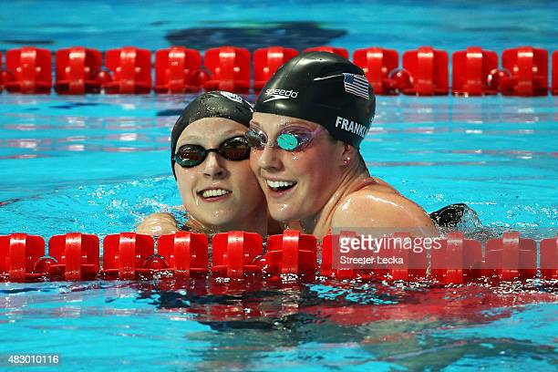 Katie Ledecky of the United States celebrates winning the gold medal with bronze medallist Missy Franklin of the United States in the Women's 200m...