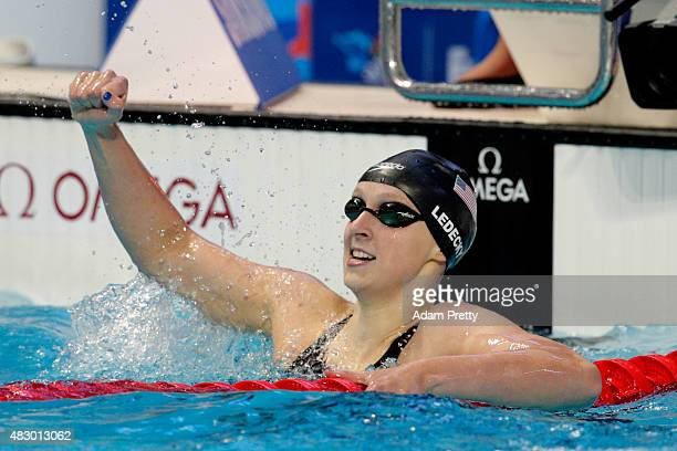 Katie Ledecky of the United States celebrates winning the gold medal in the Women's 200m Freestyle Final on day twelve of the 16th FINA World...