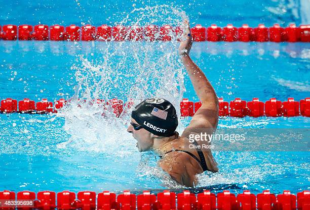 Katie Ledecky of the United States celebrates winning the gold medal in a new world record of 80739 in the Women's 800m Freestyle Final on day...