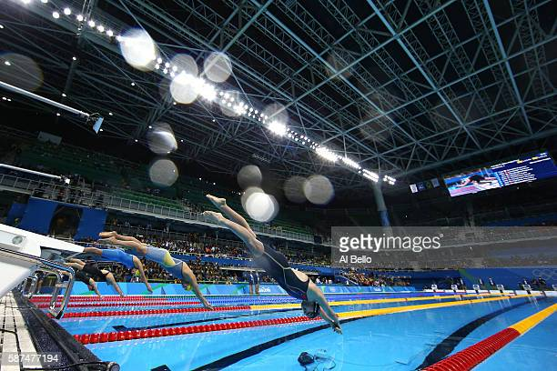 Katie Ledecky of the United States competes in the second Semifinal of the Women's 200m Freestyle on Day 3 of the Rio 2016 Olympic Games at the...