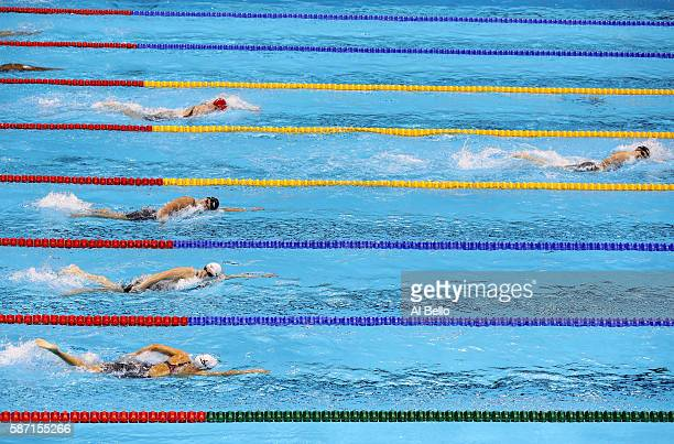 Katie Ledecky of the United States competes in the Women's 400m Freestyle Final on Day 2 of the Rio 2016 Olympic Games at the Olympic Aquatics...
