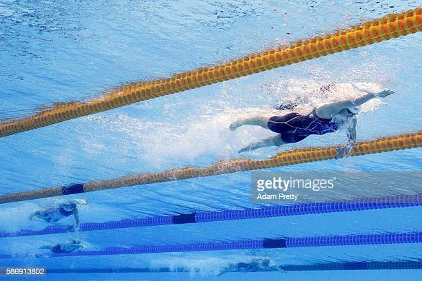 Katie Ledecky of the United States competes in the Women's 400m Freestyle heat on Day 2 of the Rio 2016 Olympic Games at the Olympic Aquatics Stadium...