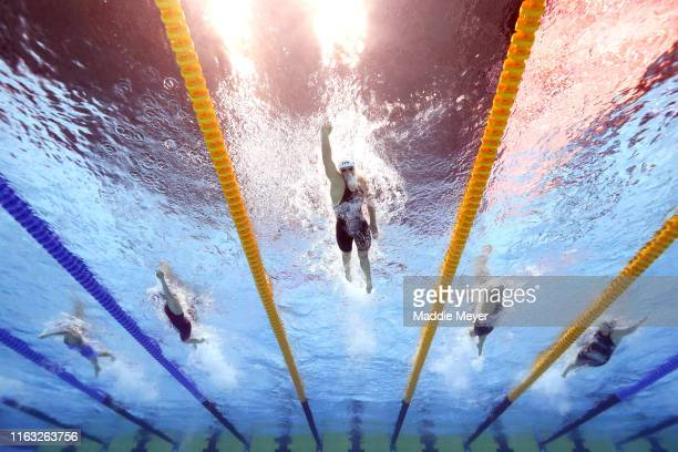 Katie Ledecky of the United States competes in the Women's 400m Freestyle heats on day one of the Gwangju 2019 FINA World Championships at Nambu...