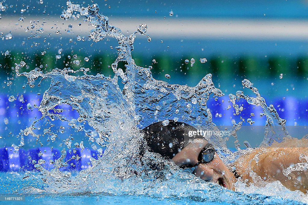Katie Ledecky of the United States competes in the Women's 800m Freestyle Final on Day 7 of the London 2012 Olympic Games at the Aquatics Centre on August 3, 2012 in London, England.