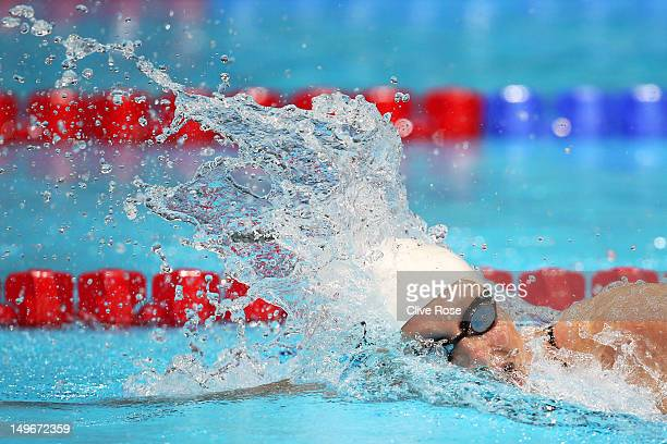 Katie Ledecky of the United States competes in the Women's 800m Freestyle heat 3 on Day 6 of the London 2012 Olympic Games at the Aquatics Centre on...