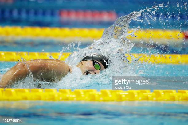 Katie Ledecky of the United States competes in the Women's Freestyle 800m TimedFinal on day one of the Pan Pacific Swimming Championships at Tokyo...