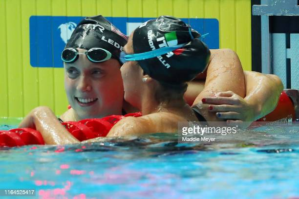 Katie Ledecky of the United States is congratulated by Simona Quadarella of Italy after winning the Women's 800m Freestyle Final on day seven of the...