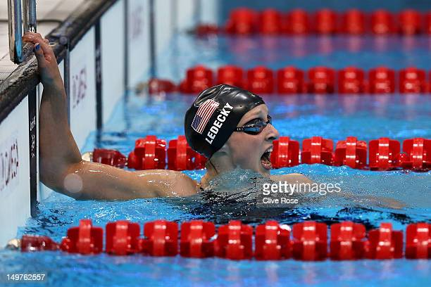 Katie Ledecky of the United States reacts after winning the Women's 800m Freestyle Final on Day 7 of the London 2012 Olympic Games at the Aquatics...