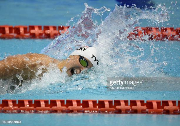 TOPSHOT Katie Ledecky of the US competes in the women's 200m freestyle competition heats at the Pan Pacific Swimming Championships in Tokyo on August...