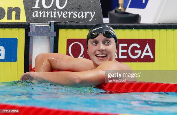 Katie Ledecky of United States reacts after winning the Women's 800m Freestyle final during day twelve of the FINA World Championships at the Duna...