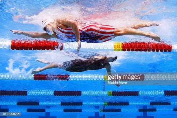 Katie Ledecky passes Ashley Twichell in the Women's 1500 Meter Freestyle Final on Day Four of the TYR Pro Swim Series at Mission Viejo at Marguerite...