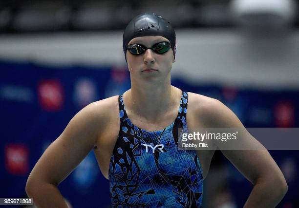 Katie Ledecky prepares for the women's 400 meter freestyle final during the TYR Pro Swim Series at Indiana University Natatorium on May 17 2018 in...