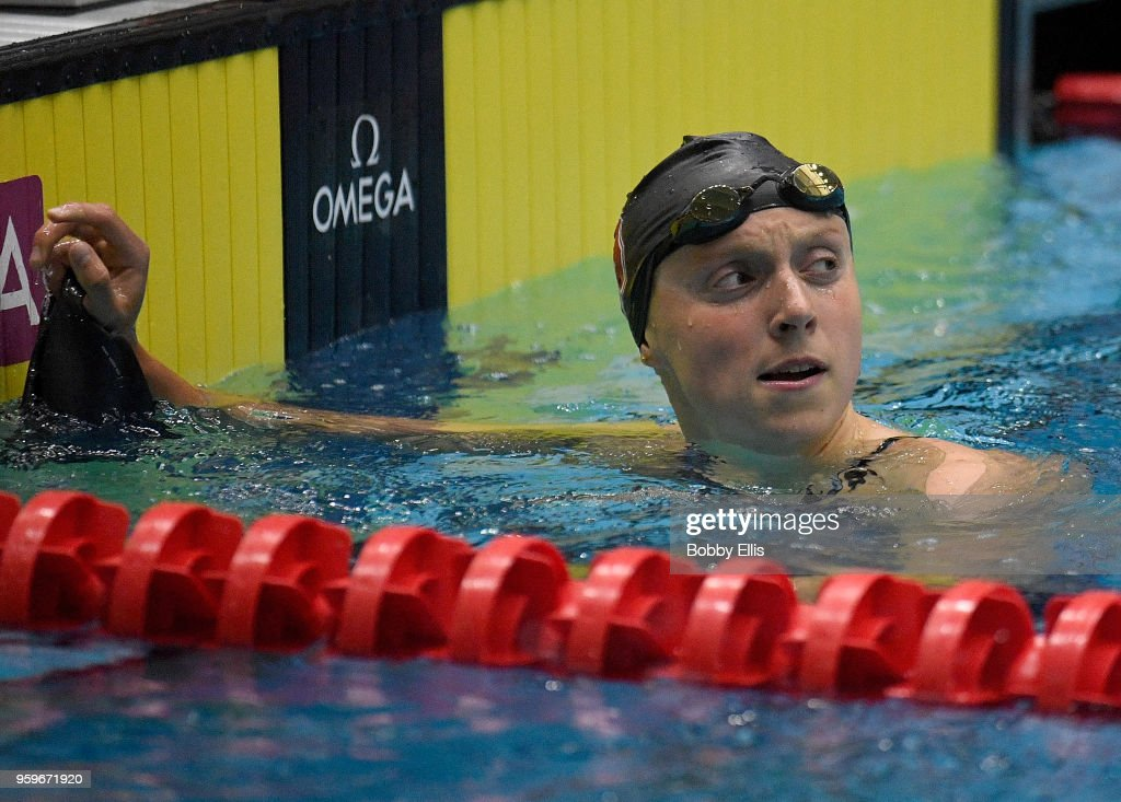 Katie Ledecky reacts after winning the women's 400 meter freestyle final during the TYR Pro Swim Series at Indiana University Natatorium on May 17, 2018 in Indianapolis, Indiana.