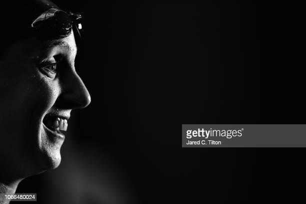 Katie Ledecky shares a smile after winning the Women's 400m Freestyle final during the Swimming Winter National Championships at the Greensboro...