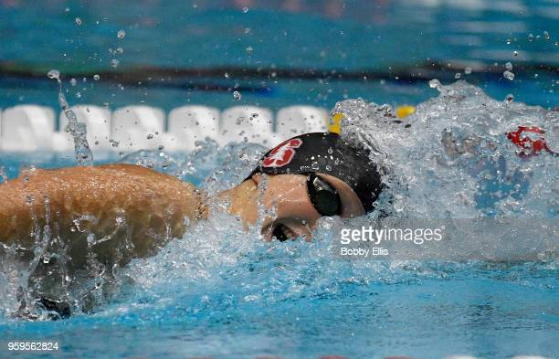 Katie Ledecky swims in the women's 400 meter freestyle prliminary race during the TYR Pro Swim Series at Indiana University Natatorium on May 17 2018...
