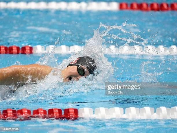 Katie Ledecky swims in the women's 800 meter final at the TYR Pro Series at Indiana University Natatorium on May 19 2018 in Indianapolis Indiana