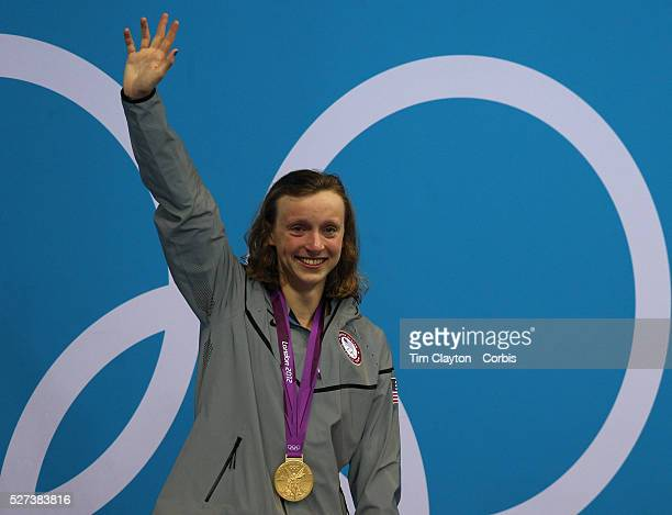 Katie Ledecky USA crying after winning the Gold Medal in the Women's 800m Freestyle Final at the Aquatic Centre at Olympic Park during the London...