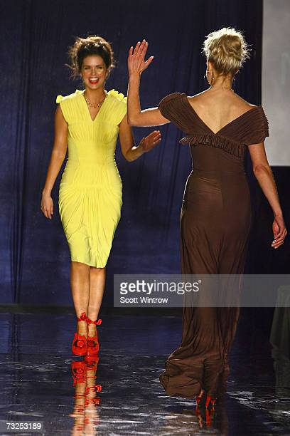Katie Lee and Beth Ostrosky walk on the runway at the Monica Moss Fall 2007 fashion presentation during MercedesBenz Fashion Week at The Puck...