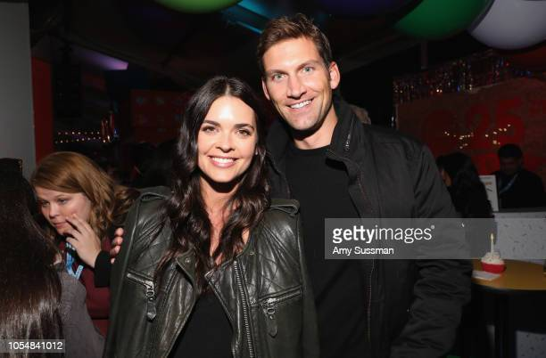 Katie Lee and Ryan Biegel attend Food Network's 25th Birthday Party Celebration at the 11th annual New York City Wine Food Festival at Pier 92 on...