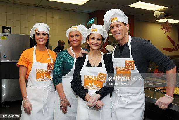 Katie Lee Anne Burrell Kyra Sedgwick and Kevin Bacon attend Food Bank For New York City's Thankful To Give Holiday Campaign Event at Food Bank for...