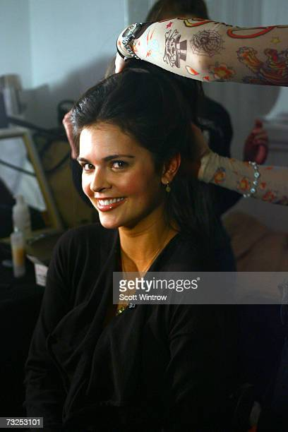 Katie Lee prepares backstage at the Monica Moss Fall 2007 fashion presentation during MercedesBenz Fashion Week at The Puck Buliding February 7 2007...