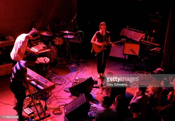 Katie Lee Taylor Smith Austin Tufts and Raphaelle StandellPreston of Braids perform at the Bowery Ballroom on April 11 2011 in New York City