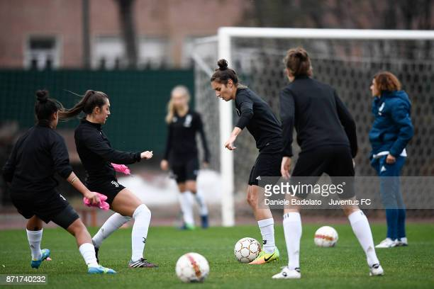 Katie Leigh Zelem and Martina Lenzini in action during the Juventus women training session on November 8 2017 in Turin Italy