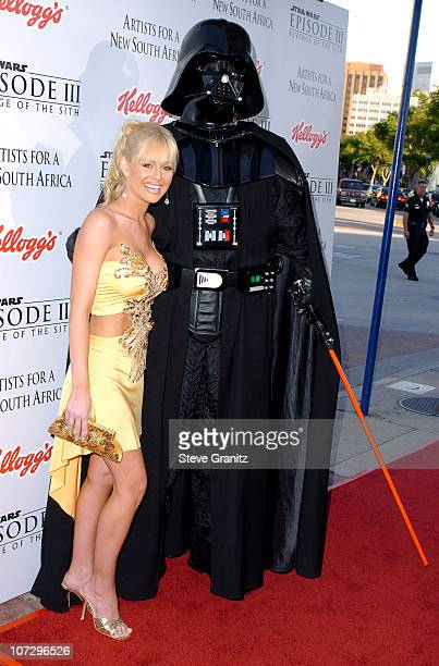 Katie Lohmann and Darth Vader during 'Star Wars Episode III Revenge of The Sith' Premiere to Benefit Artists for a New South Africa Charity Arrivals...
