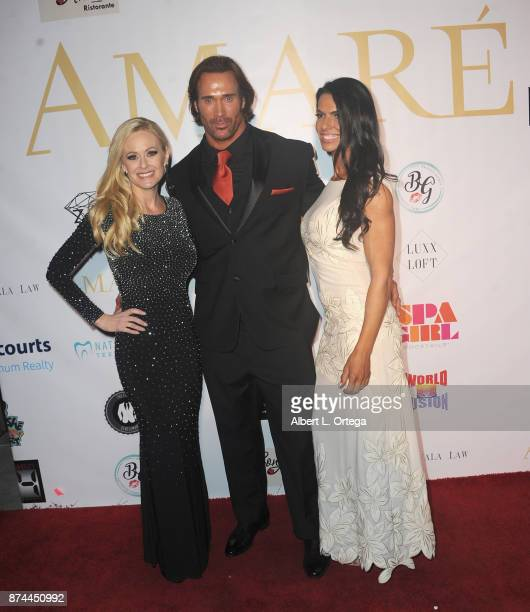 Katie Lohmann Mike O'Hearn and Mona Muresan attend Amare Magazine Presents A Black Tie Event featuring cover model Mike O'Hearn held at Hangar 21 on...