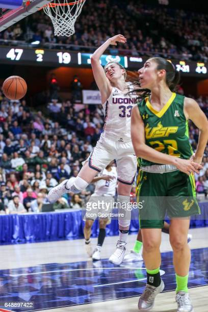 Katie Lou Samuelson Forward for UConn and Tournament MVP is fouled as she goes for the lay up during the American Athletic Championship final between...