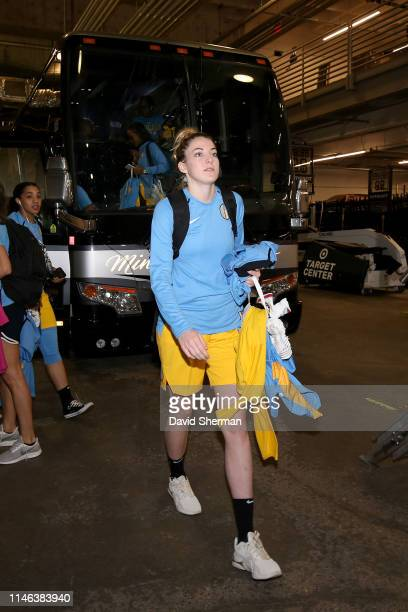 Katie Lou Samuelson of Chicago Sky arrives to the arena before the game against the Minnesota Lynx on May 25 2019 at the Target Center in Minneapolis...
