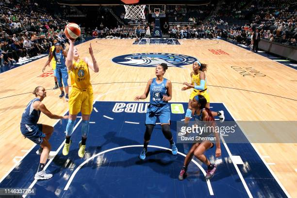 Katie Lou Samuelson of Chicago Sky shoots the ball during the game against the Minnesota Lynx on May 25 2019 at the Target Center in Minneapolis...