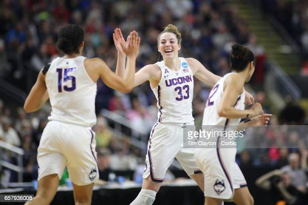 Katie Lou Samuelson of the Connecticut Huskies congratulates Gabby Williams of the Connecticut Huskies on a basket during the UConn Huskies Vs UCLA...