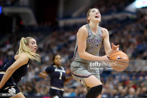 Katie Lou Samuelson of the Connecticut Huskies fails to hold a pass and knocks the ball out of bounds during the the UConn Huskies Vs Notre Dame NCAA...
