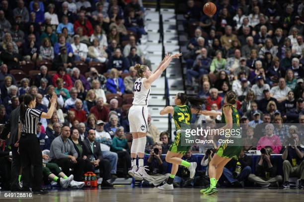 Katie Lou Samuelson of the Connecticut Huskies hits one of her ten three pointers in a row during the USF Vs UConn American Athletic Conference Final...