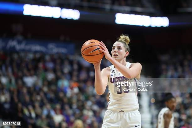 Katie Lou Samuelson of the Connecticut Huskies in action during the Naismith Basketball Hall of Fame Holiday Showcase game between the UConn Huskies...