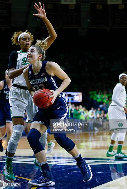 Katie Lou Samuelson of the Connecticut Huskies makes a move to the basket around Brianna Turner of the Notre Dame Fighting Irish at Purcell Pavilion...