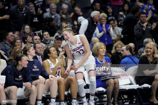 Katie Lou Samuelson of the Connecticut Huskies returns to the bench for the final time after shooting ten from ten three pointers during the USF Vs...