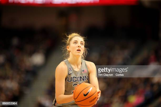 Katie Lou Samuelson of the Connecticut Huskies shoots a free throw during the the UConn Huskies Vs Notre Dame NCAA Women's Basketball game at the XL...