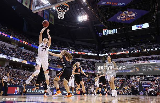 Katie Lou Samuelson of the Connecticut Huskies shoots against Katie McWilliams of the Oregon State Beavers in the second quarter during the...