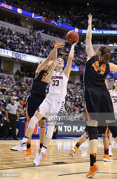 Katie Lou Samuelson of the Connecticut Huskies shoots against Ruth Hamblin of the Oregon State Beavers in the second quarter during the semifinals of...