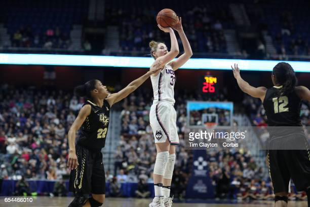 Katie Lou Samuelson of the Connecticut Huskies shoots for three defended by Aliyah Gregory of the UCF Knights during the UConn Huskies Vs UCF Knights...