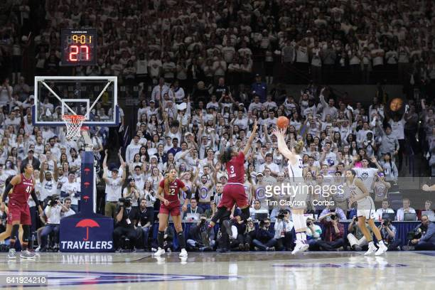 Katie Lou Samuelson of the Connecticut Huskies shoots for three points during the UConn Huskies Vs South Carolina Gamecocks NCAA Women's Basketball...