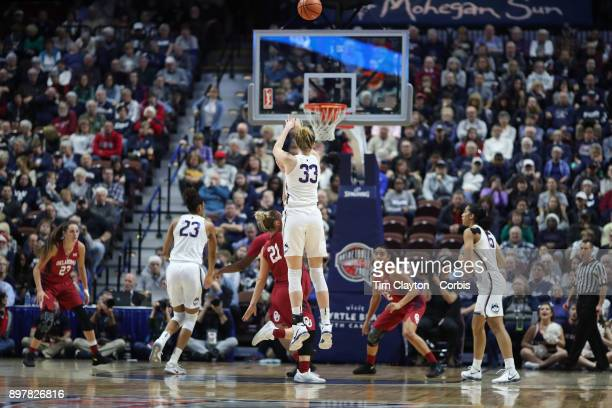 Katie Lou Samuelson of the Connecticut Huskies shoots for three during the Naismith Basketball Hall of Fame Holiday Showcase game between the UConn...