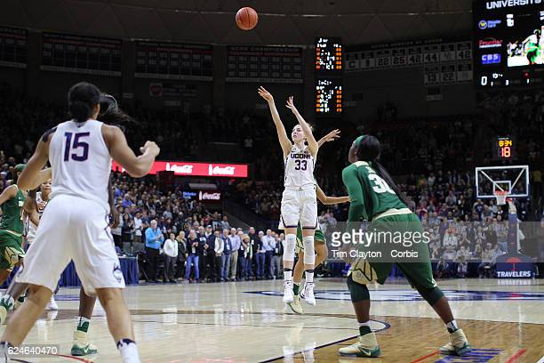Katie Lou Samuelson of the UConn Huskies shoots for three during the UConn Huskies Vs Baylor Bears NCAA Women's Basketball game at Gampel Pavilion on...
