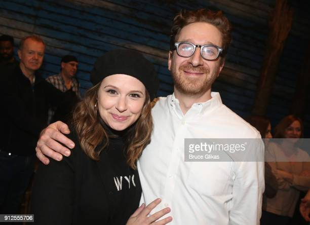 Katie Lowes and Daniel Goldstein pose backstage at the hit musical 'Come From Away' on Broadway at The Schoenfeld Theatre on January 30 2018 in New...
