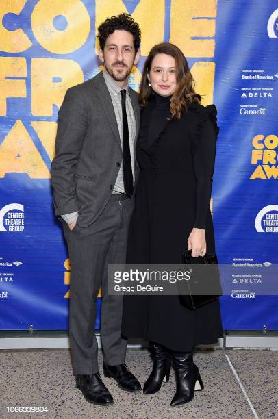 Katie Lowes and husband Adam Shapiro arrive at the Come From Away Opening Night Performance at Ahmanson Theatre on November 28 2018 in Los Angeles...