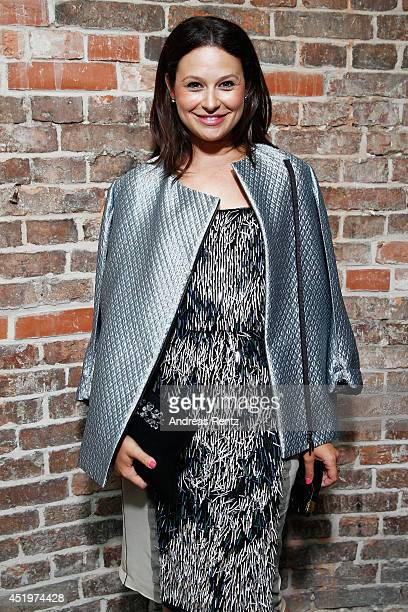 Katie Lowes is seen backstage ahead of the Schumacher show during the MercedesBenz Fashion Week Spring/Summer 2015 at Sankt Elisabeth Kirche on July...