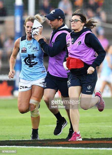 Katie Loynes of Carlton after receiviving a cut above the eye during the round five AFLW match between the Adelaide Crows and the Carlton Blues at...