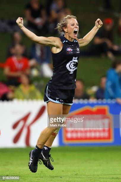 Katie Loynes of the Blues celebrates scoring a goal during the round 20 AFLW match between the Greater Western Sydney Giants and the Carlton Blues at...